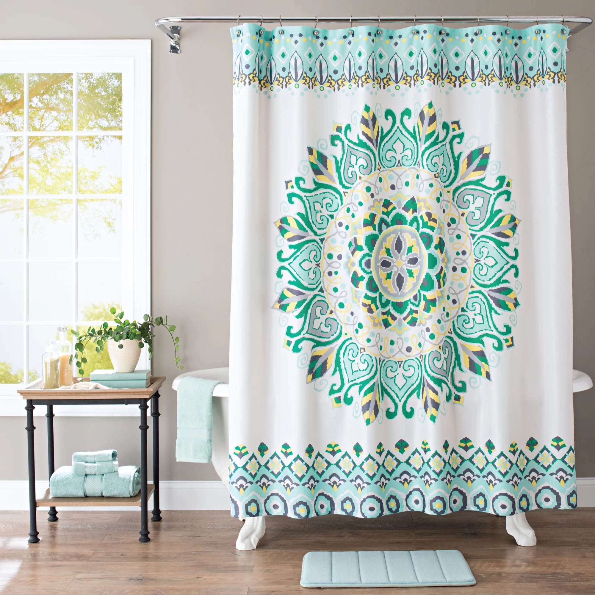 Better Homes and Gardens Medallion Fabric Shower Curtain  Walmartcom