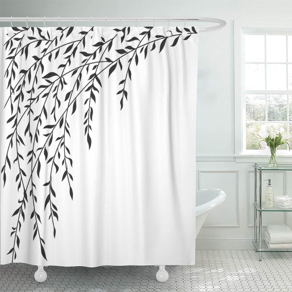 suttom black white weeping willow tree branches shower curtain 66x72 inch