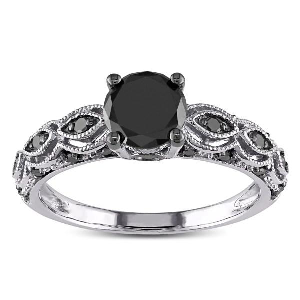 Miadora - 10k White Gold 1 4ct Tdw Black Diamond Engagement Ring