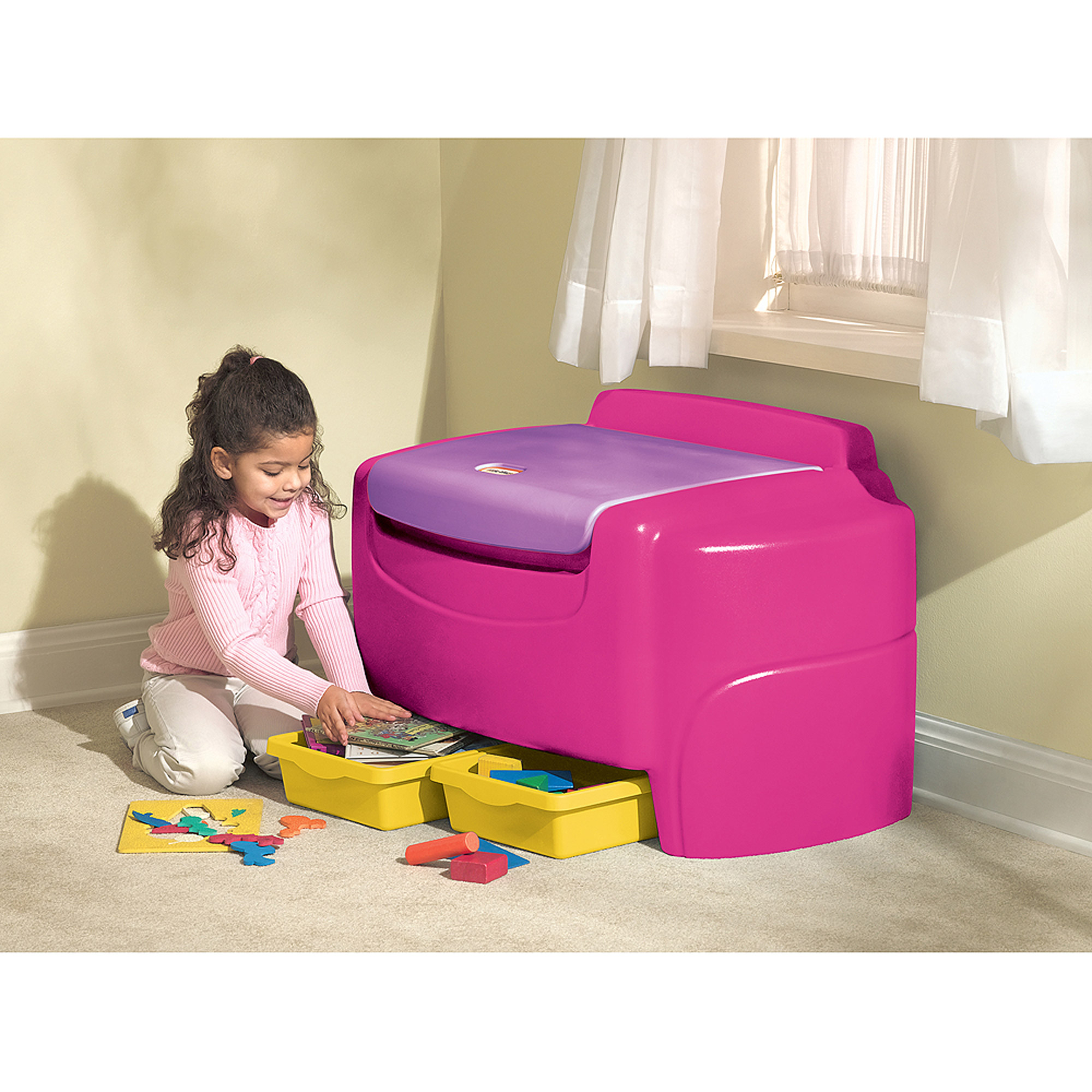 Little Tikes Bright Pink Sort N Store Toy Chest Walmart