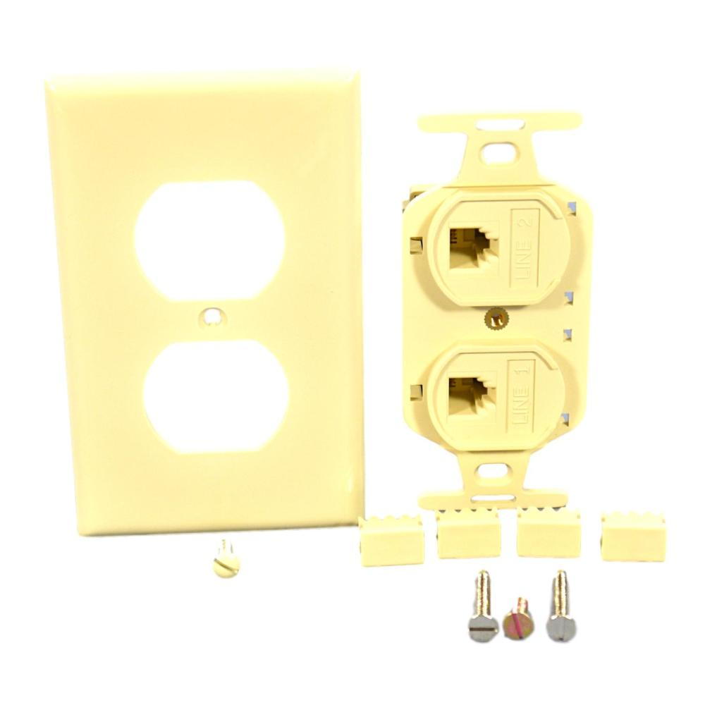 medium resolution of leviton duplex ivory flush phone jack 110 type voice 4 wire type 106 41364 idi walmart com