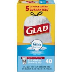Glad Kitchen Bags High Table Odorshield Tall Drawstring Trash Febreze Fresh Clean 13 Gallon 40