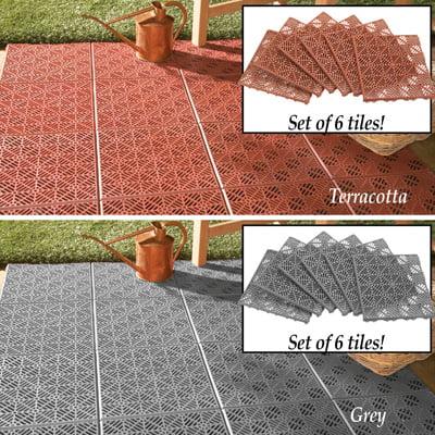 interlocking terracotta patio tile flooring 6 pc