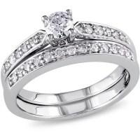 Miabella 1/2 Carat T.W. Diamond Sterling Silver Bridal ...