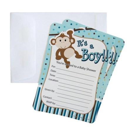 Baby Shower Invitations 12 Piece 7 Inches Monkey Boy Light Blue