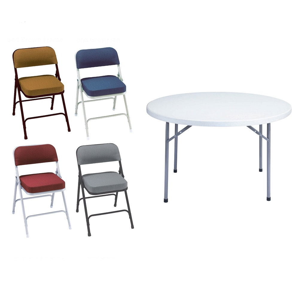 public seating chairs little kid table and national nps seven piece 48 inch plastic round folding set walmart com