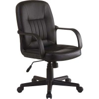 Innovex Executive Leather Mid-Back Office Chair, Black ...