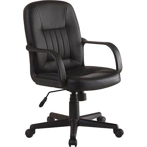 walmart leather office chair Innovex Executive Leather Mid-Back Office Chair, Black