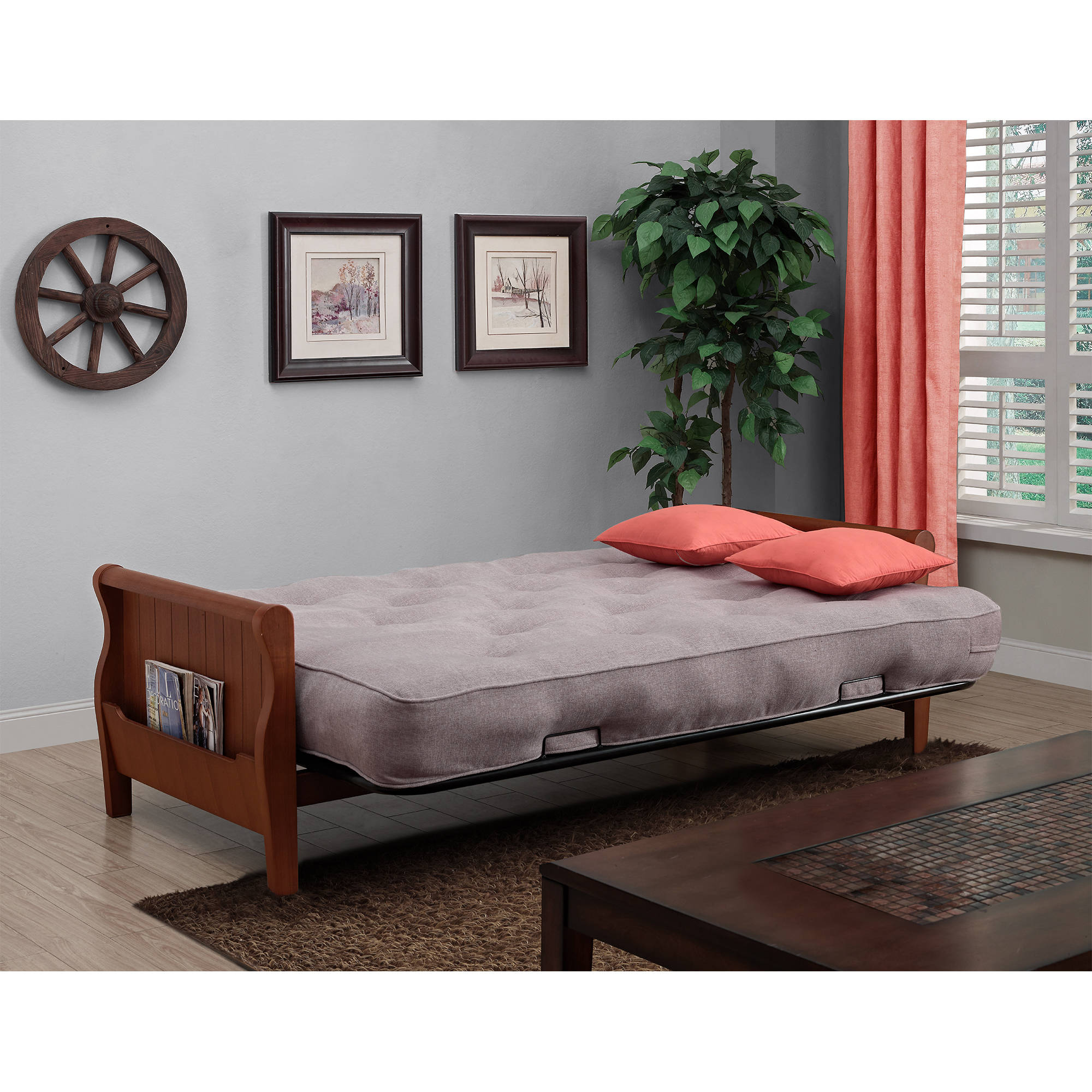 sofa mart indianapolis small sectional modern convertible sleeper wood arm futon bed 8 inch coil