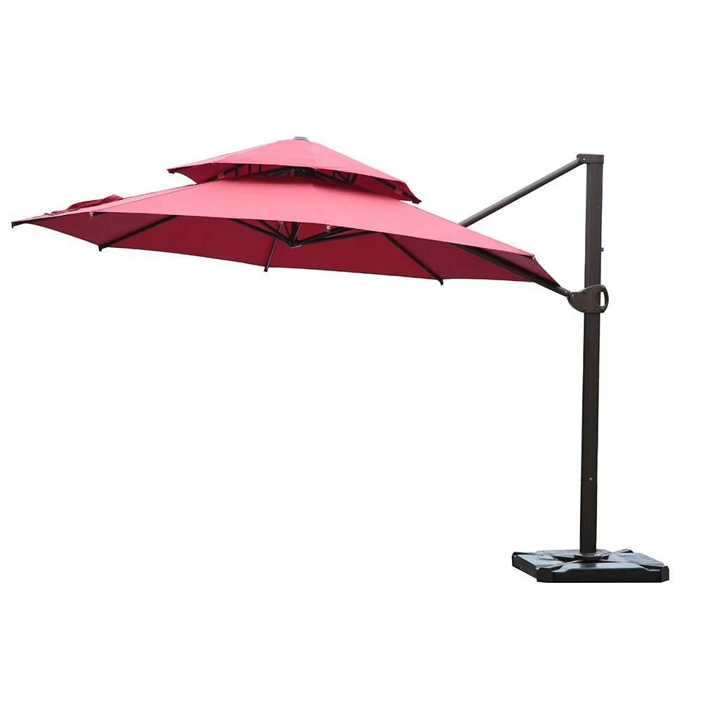 sorara 11 1 2 ft offset cantilever umbrella round patio hanging umbrella with dual wind vent cross base 4 pcs base weight and umbrella cover