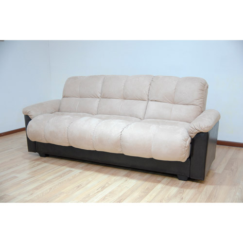primo ara convertible futon sofa bed with storage hazelnut