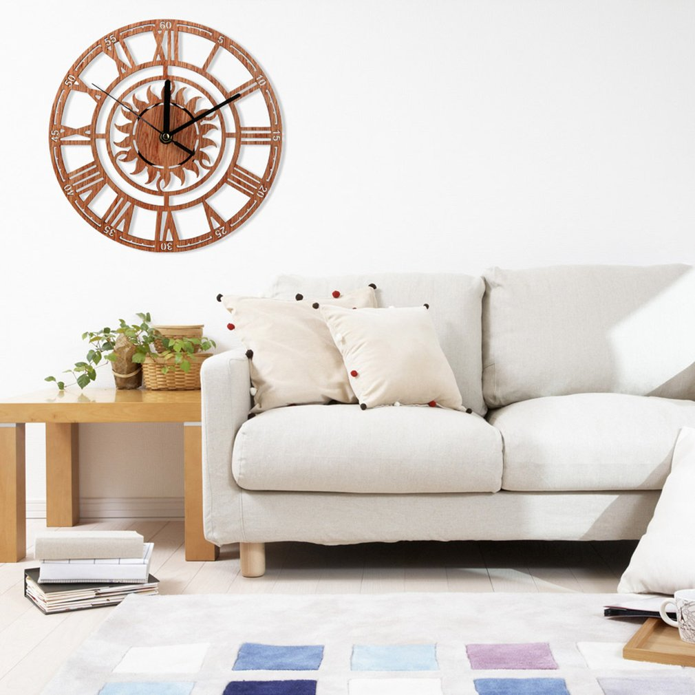 living room wall clocks navy blue and brown ideas fancyy creative retro wooden clock bedroom