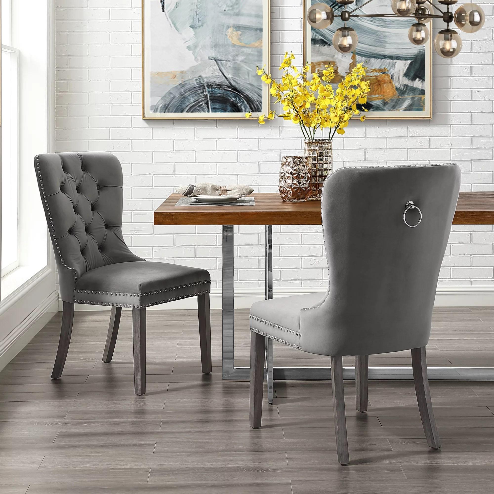 Ivy Grey Velvet Dining Chair  Set of 2  Tufted  Ring