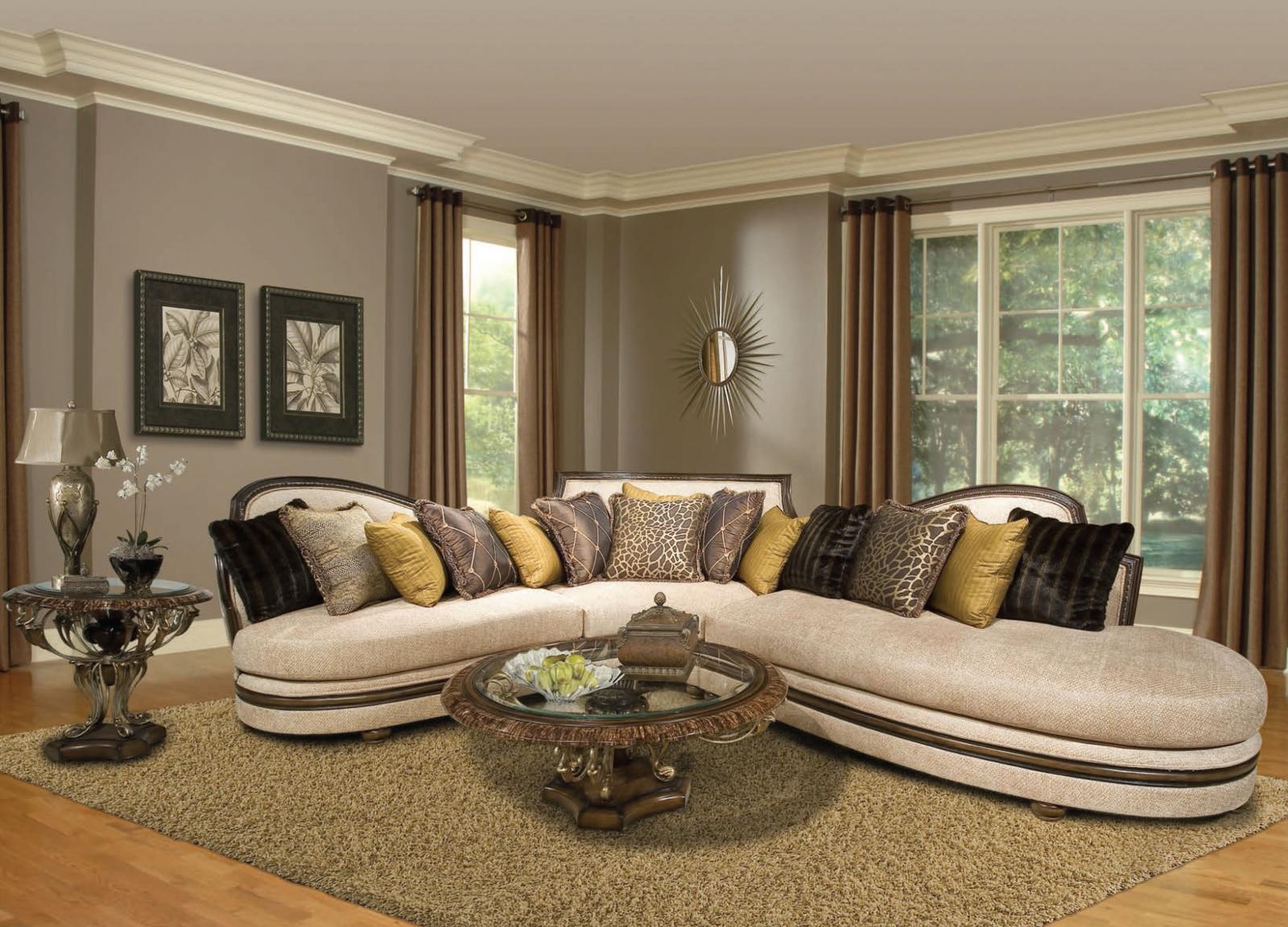 benetti s ravenna luxury cream sectional sofa dark wood special order left