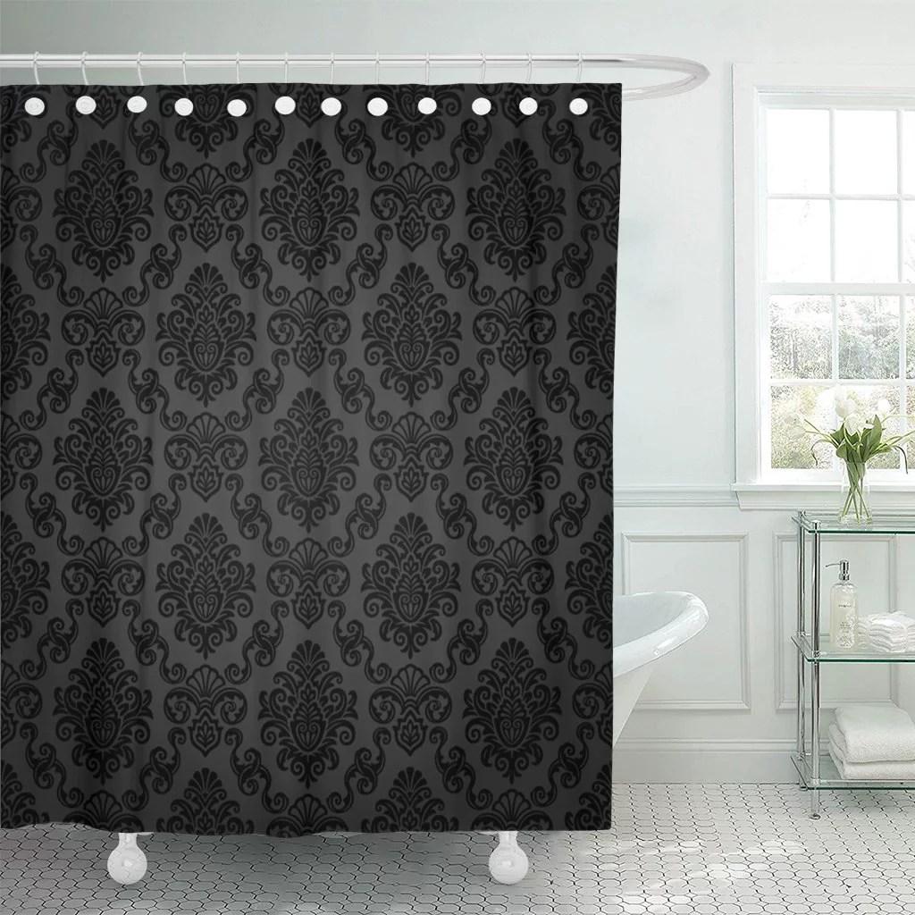 pknmt victorian damask pattern royal black gothic dark vintage polyester shower curtain 60x72 inches walmart com