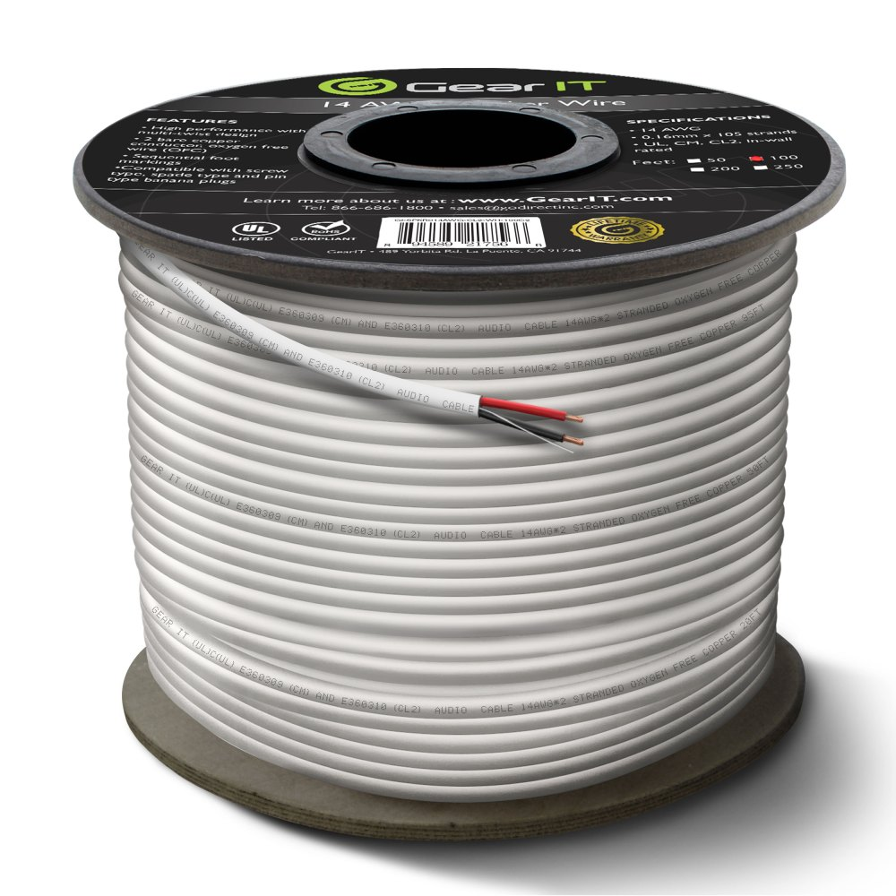 medium resolution of 14 gauge cl2 ofc speaker wire gearit pro series 14awg 100 feet 30 48 meters white oxygen free copper ul cl2 rated in wall speaker wire cable for home