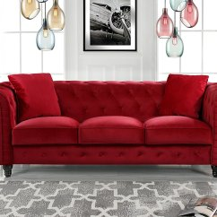 Tufted Button Sofa Daybed Uk Classic Velvet Scroll Arm Chesterfield Red Walmart Com