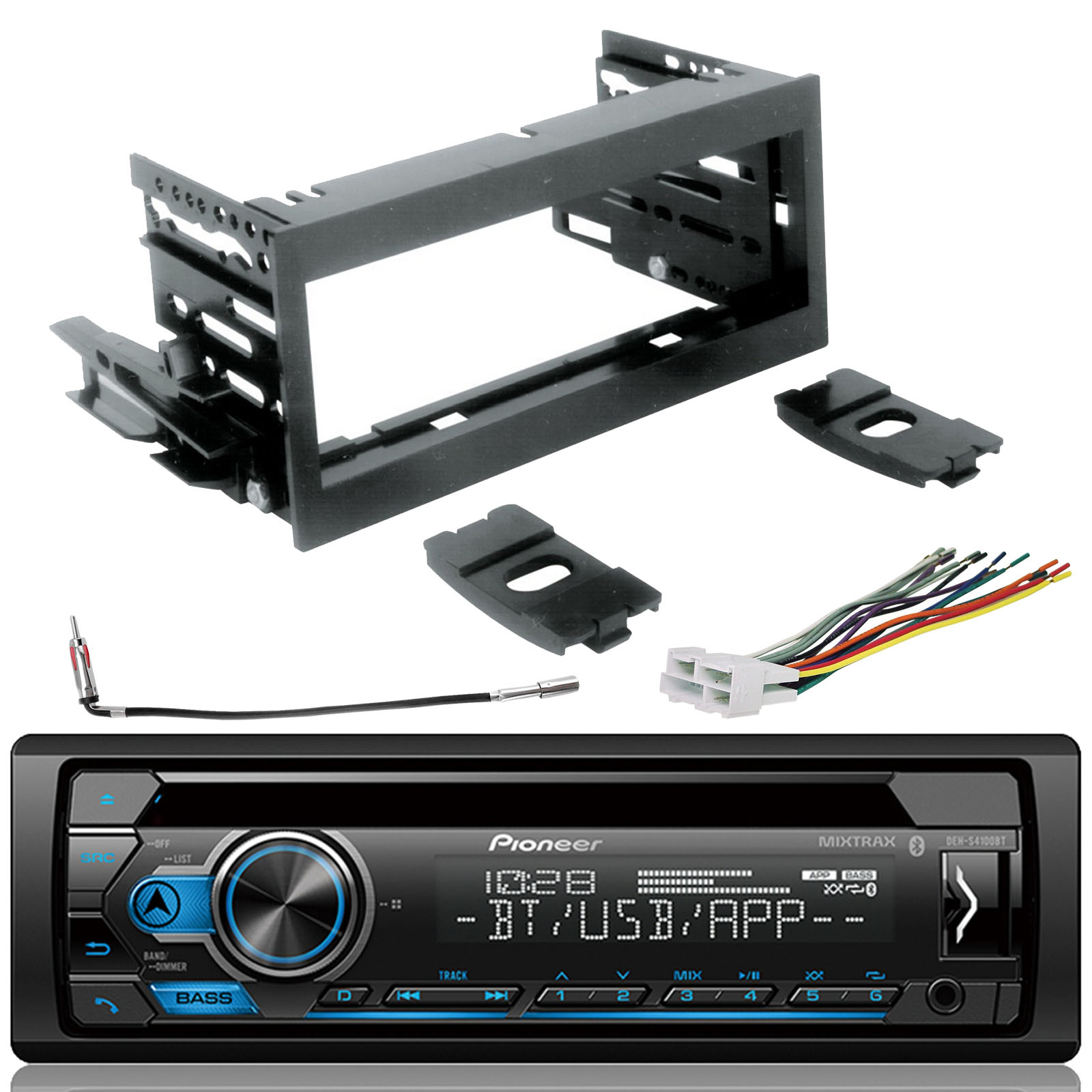 hight resolution of pioneer dehs4100bt single din cd usb aux bluetooth spotify stereo jvc wiring diagram color pioneer dehs4100bt