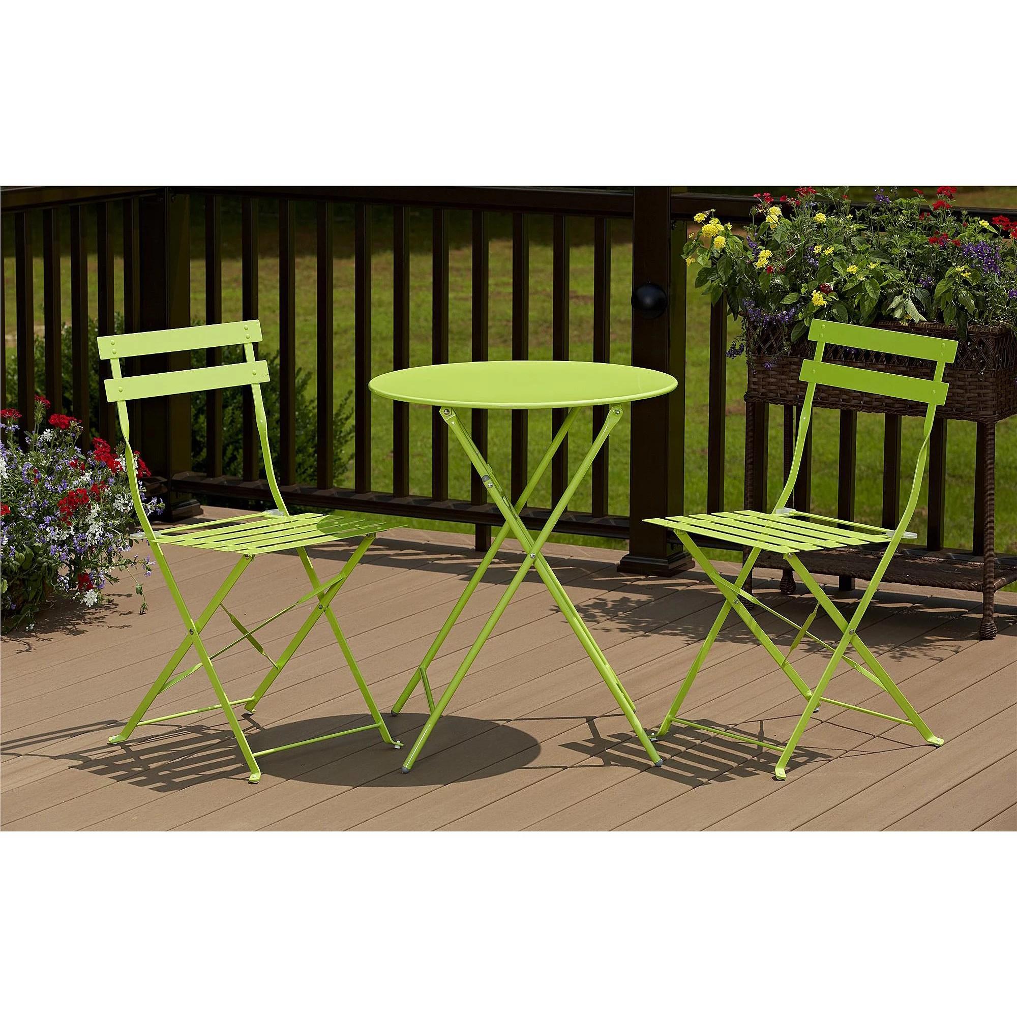 green metal bistro chairs hanging chair kohls cosco 3 piece folding outdoor set walmart com