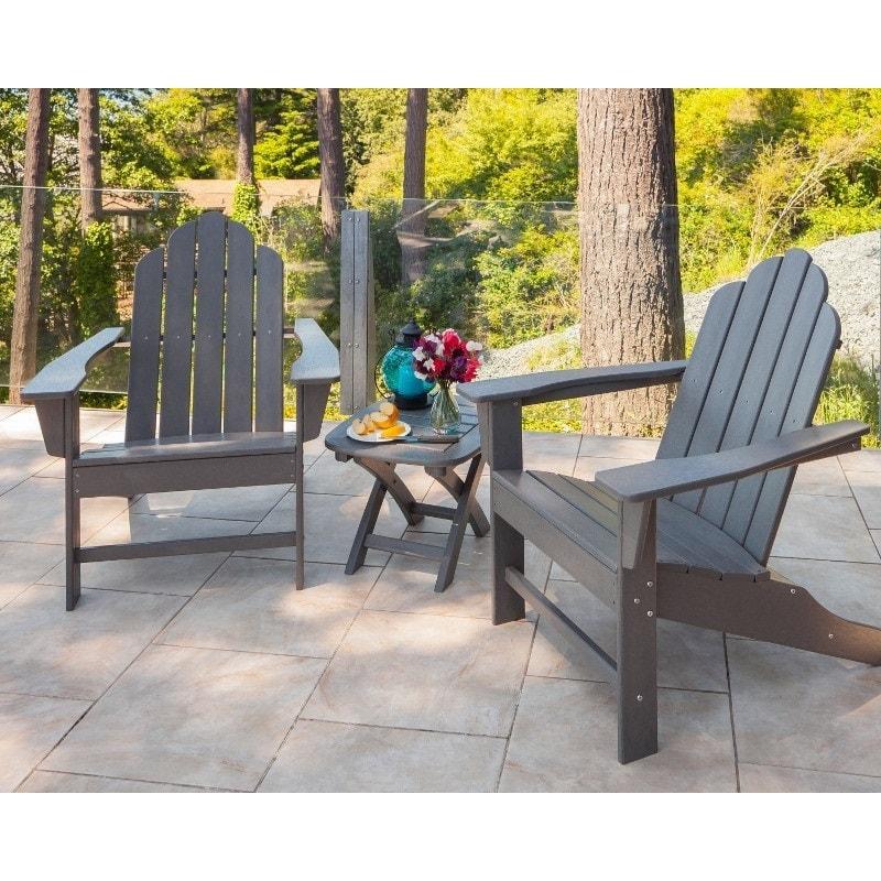 polywood long island 3 piece adirondack chair set slate grey