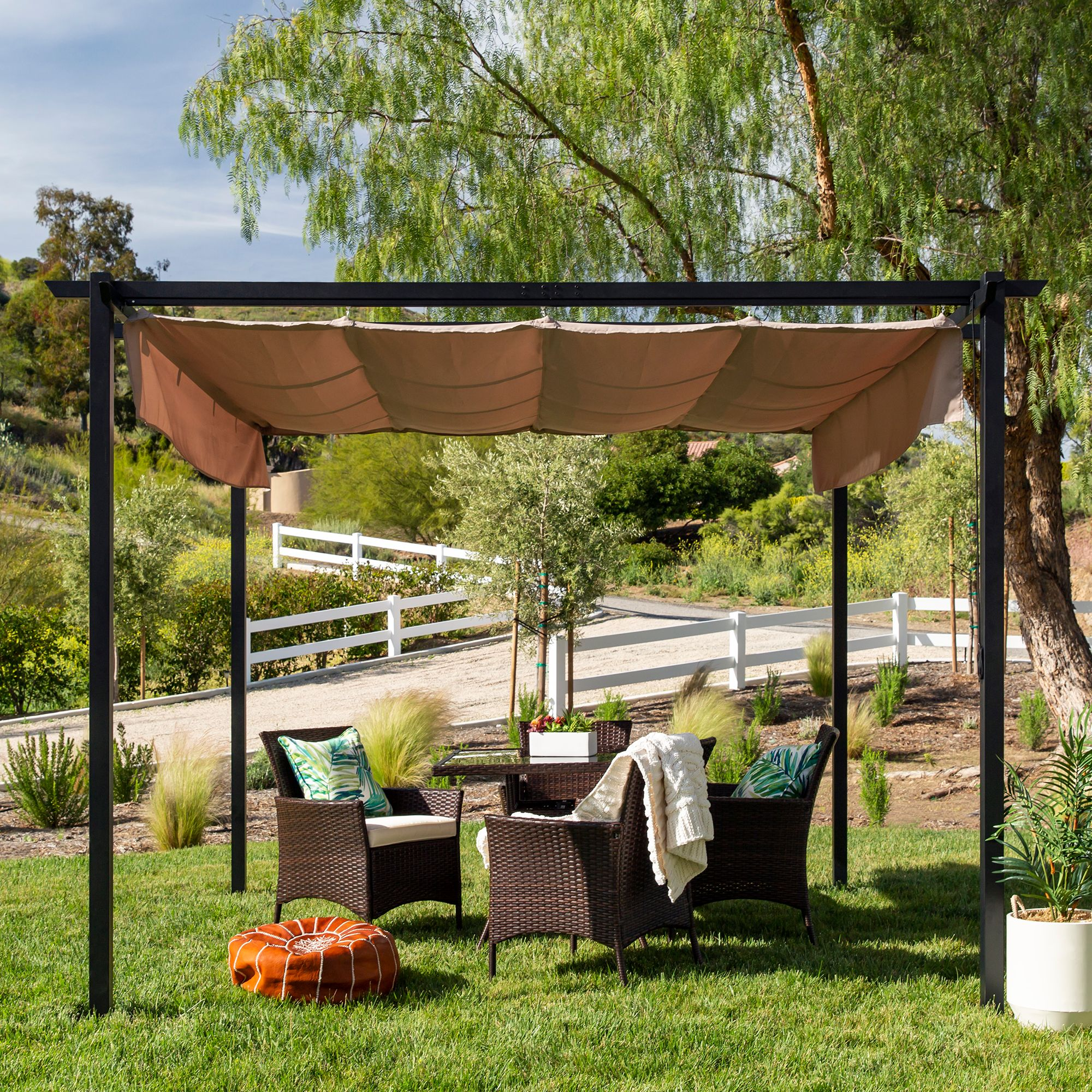 best choice products 10x10ft patio weather resistant pergola shelter w retractable sun shade canopy steel frame walmart com