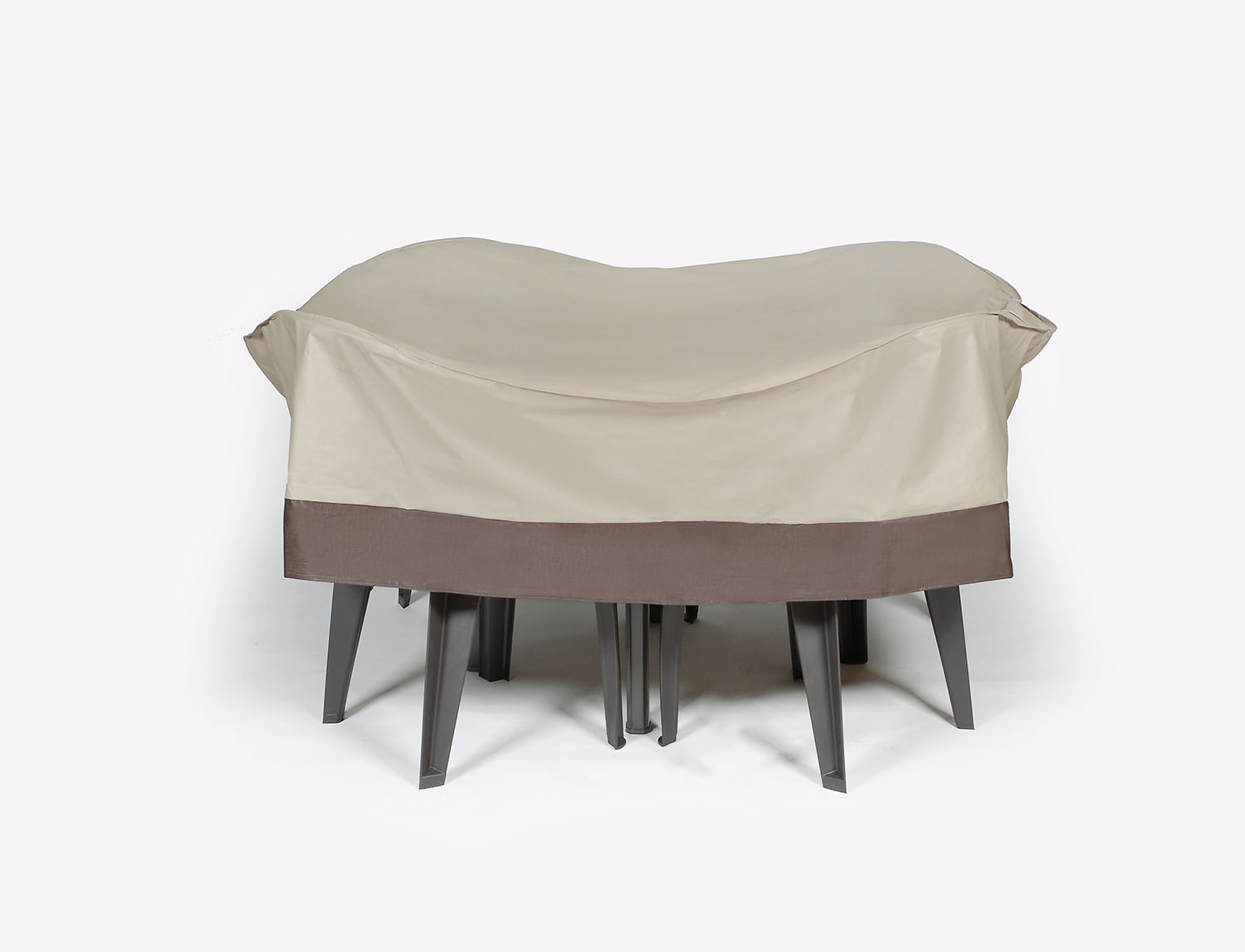 72 beige and brown durable outdoor round patio furniture set vinyl cover