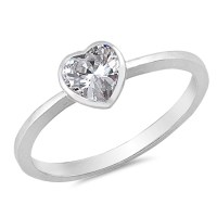 Simple Solitaire Clear CZ Heart Promise Ring ( Sizes 2 3 4 ...