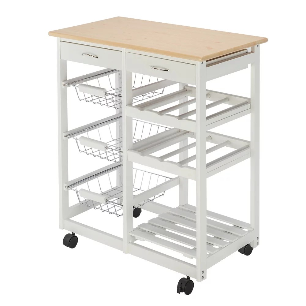 kitchen carts microwave oven stand storage cart on wheel with 2 drawers 3 metal baskets 3 shelf panels microwave cabinet with storage rustproof