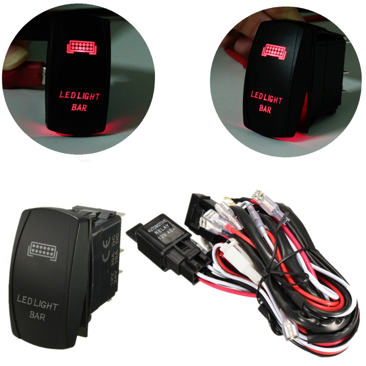 hight resolution of rocker switch wiring harness 12v 40a 300w relay fuse led light bar 5 pin laser matcc