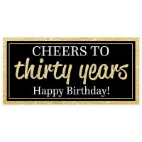 Cheers to Thirty Years Gold Birthday Banner - Walmart.com