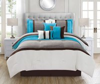 WPM 7 Pieces Complete Bedding Ensemble Beige Brown Aqua ...