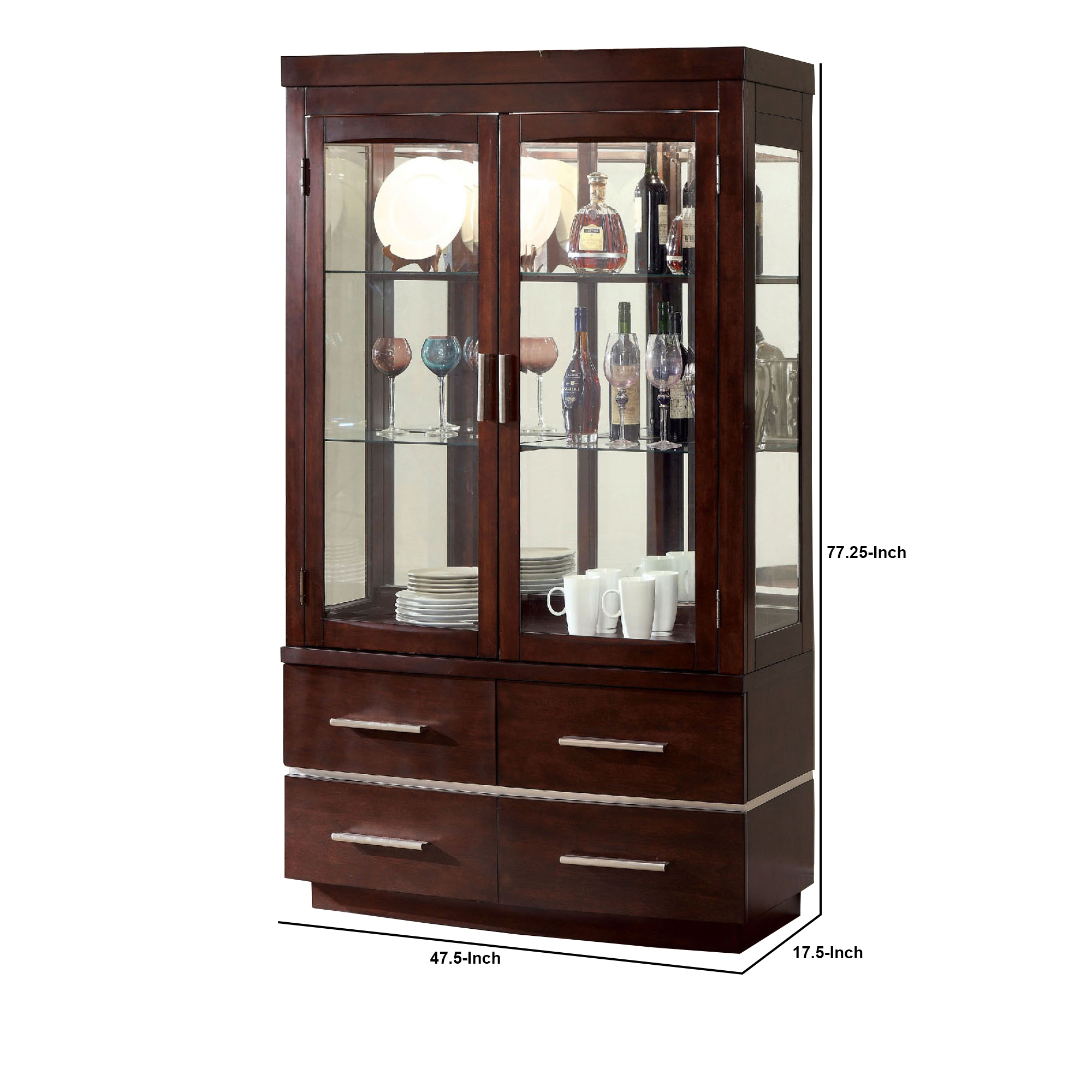 benjara bm216389 wood glass curio cabinet with touch led lights brown 77 25 x 17 5 x 47 5 in