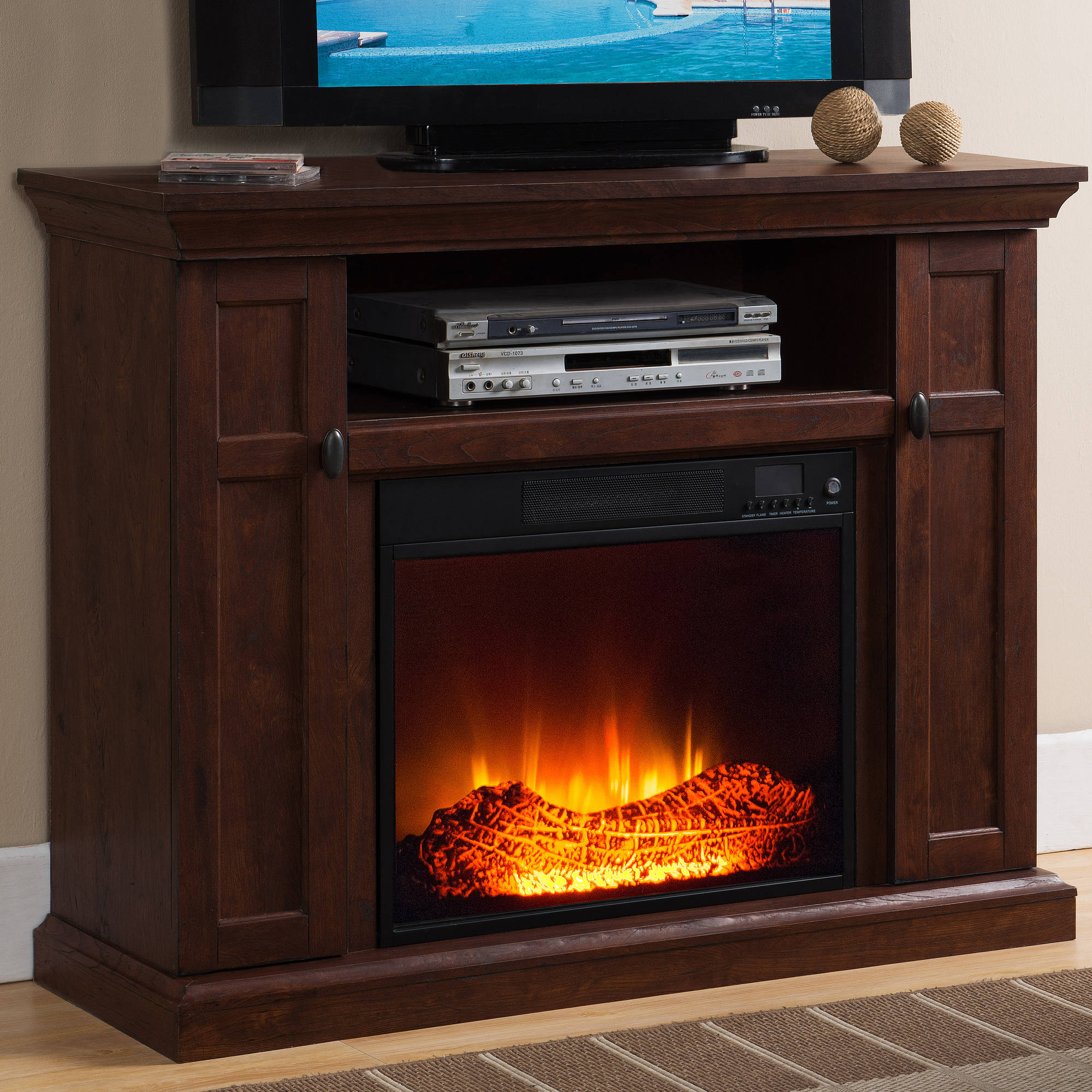 Prokonian Electric Fireplace with 46 Mantle with Storage