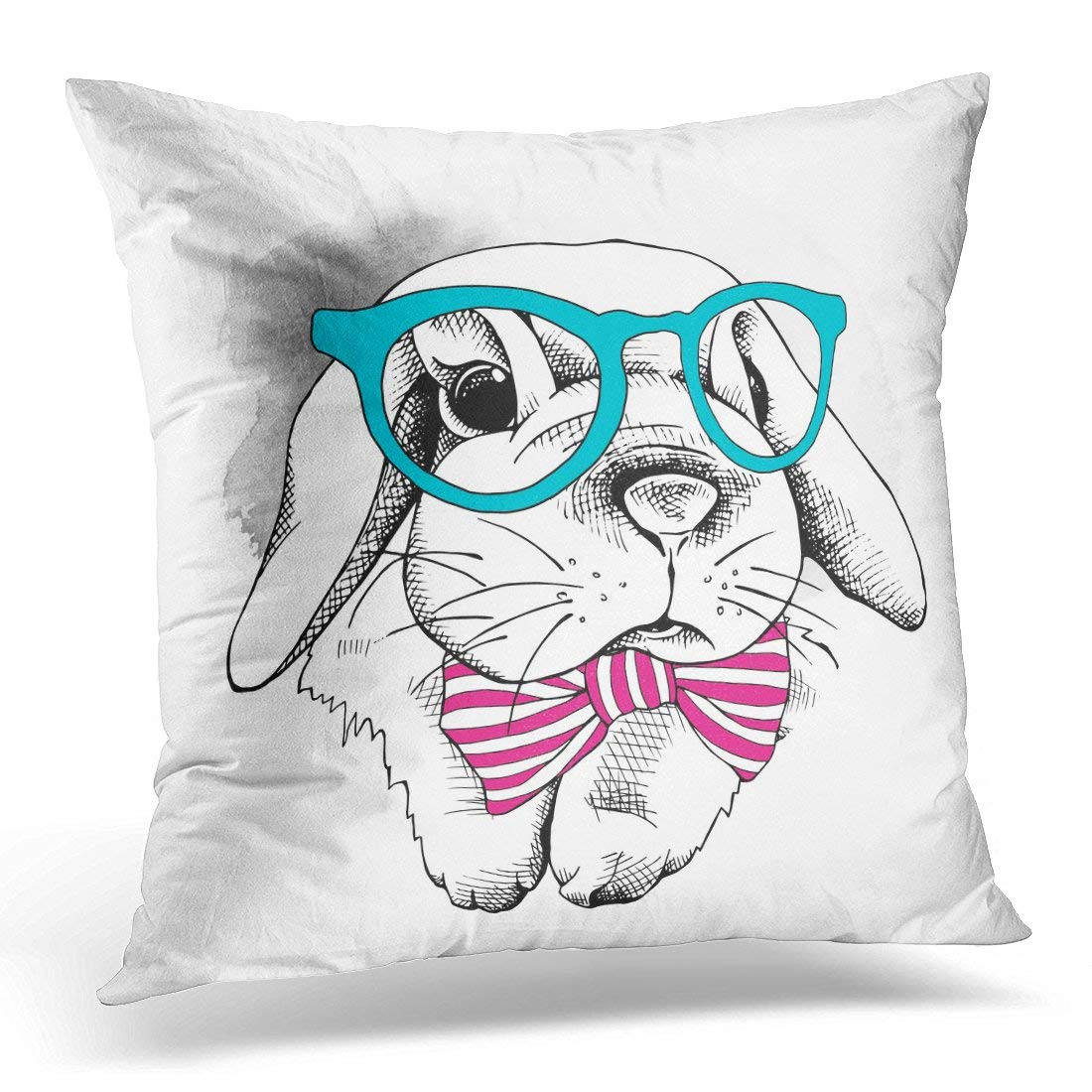 pink throw pillows for sofa dania leather bed cmfun vintage the of small rabbit in glasses bow