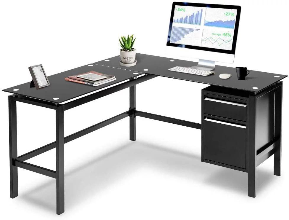 l shaped desk corner table computer desk with side storage black glass walmart com