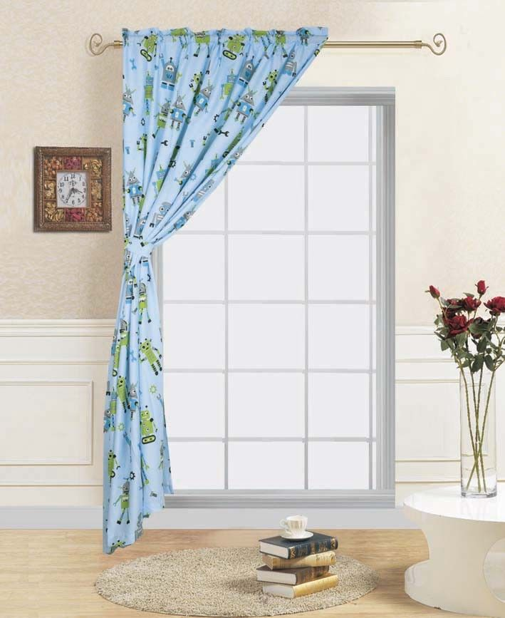 1 panel robot kids bedroom rod pocket window curtain treatment includes one panel 60 in wide x 84 in length with one matching tie back