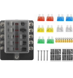 32v plastics cover fuse box holder m5 stud with led indicator light 10 ways blade for auto car boat marine trike with fuse blade terminals [ 1000 x 1000 Pixel ]