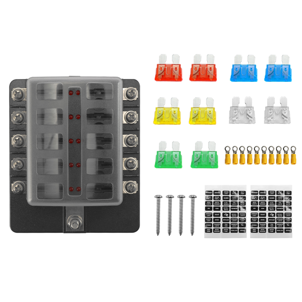 medium resolution of 32v plastics cover fuse box holder m5 stud with led indicator light 10 ways blade for auto car boat marine trike with fuse blade terminals