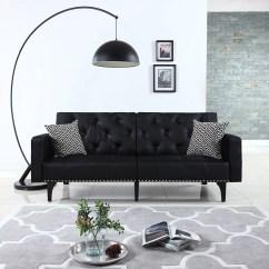 Leather Sleeper Sofa With Nailheads Discount Sectional Modern Tufted Bonded Futon Nailhead Trim In White Black Walmart Com