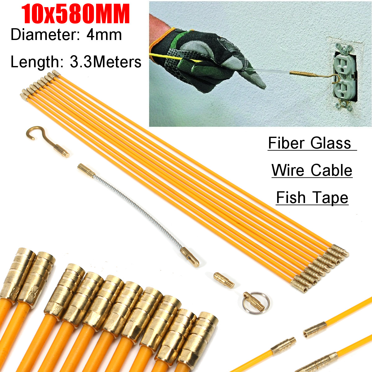 hight resolution of 10pcs wire electrical fish tape cable fiberglass kit coaxial puller running rods walmart com