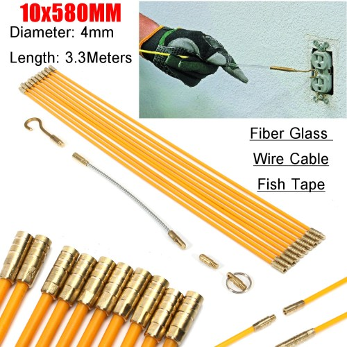 small resolution of 10pcs wire electrical fish tape cable fiberglass kit coaxial puller running rods walmart com