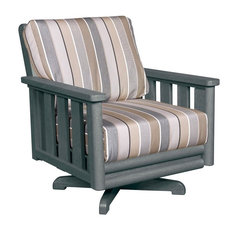 cr plastic stratford swivel patio chair in gray milano charcoal