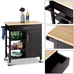 Kitchen Trolley Appliance Suites Costway 4 Tier Rolling Wood Cart Island Storage Cabinet Shelf Drawer