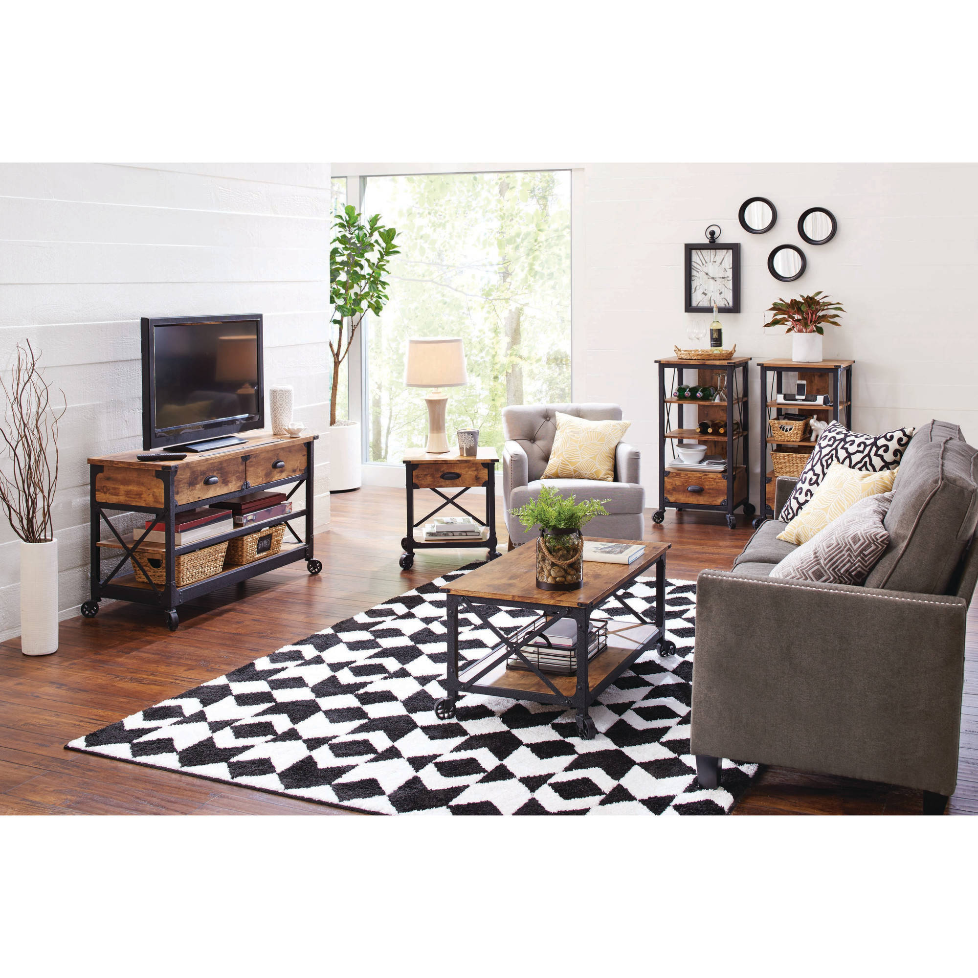 better homes and gardens living room pictures area rug sizes for rustic country set walmart com