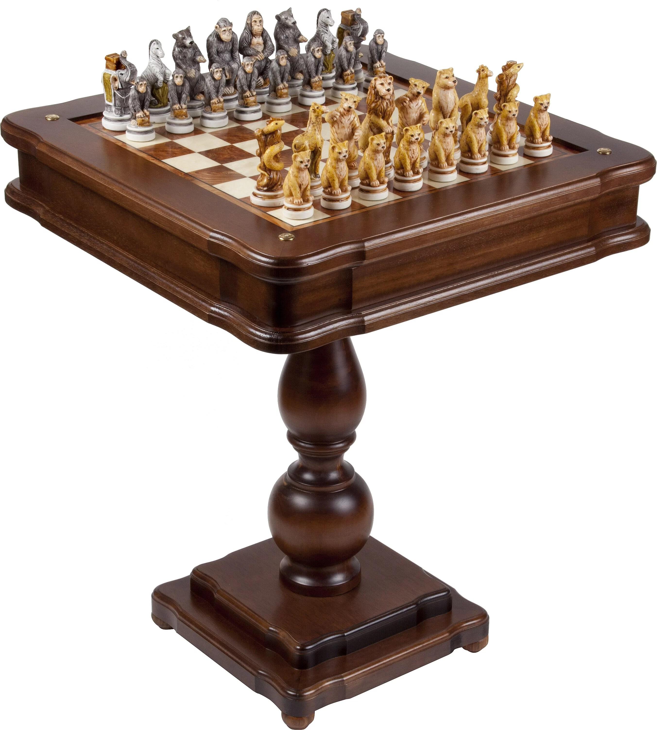 Animal Kingdom Backgammon Chess Checkers Table