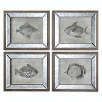 Set of 4 Wildlife Fish Study Wall Art Prints with Antiqued ...