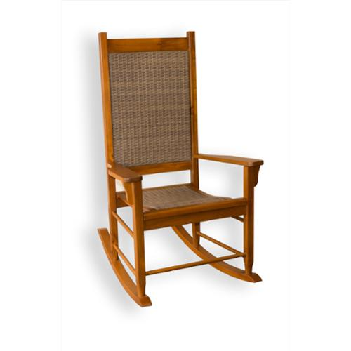 Tortuga Outdoor Wooden Rocking Chair with Wicker Weave
