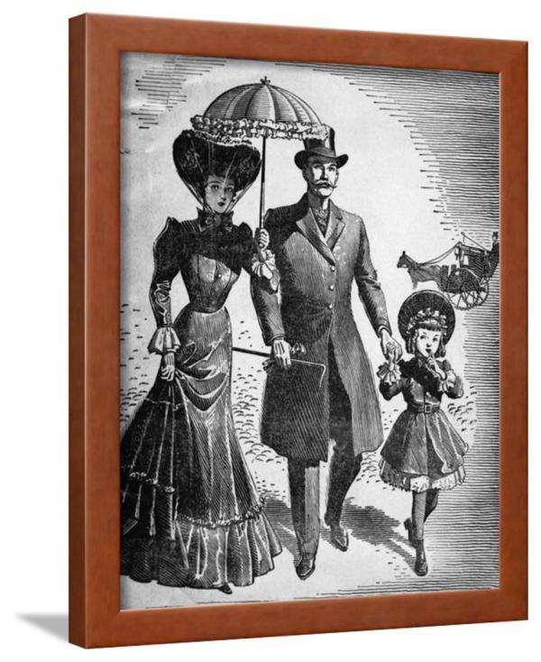 Woodcut; Fashionable Family Walk Framed Print Wall