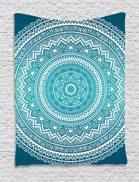 Turquoise Ombre Tapestry, Mandala Medallion Starry Design ...