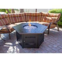 AZ Patio Heaters Stone Propane Gas Fire Pit Table